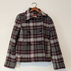 Old Navy Toggle Button Plaid Pea Coat